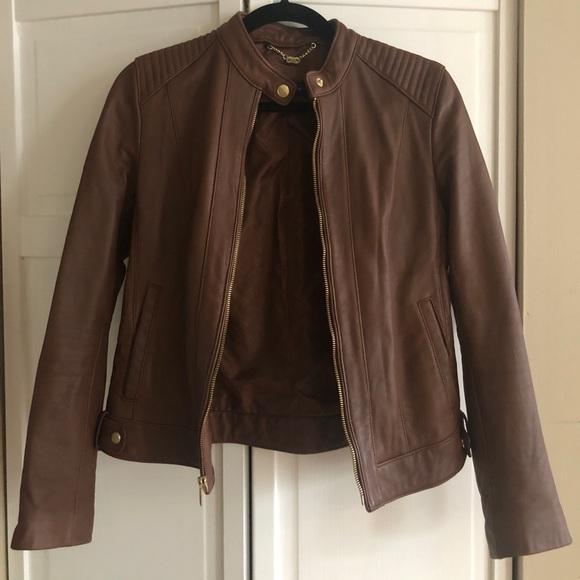 334332e97 Cole Haan Leather Moto Jacket (Chestnut color)